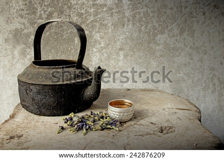 Old  kettle placed on a wooden floor