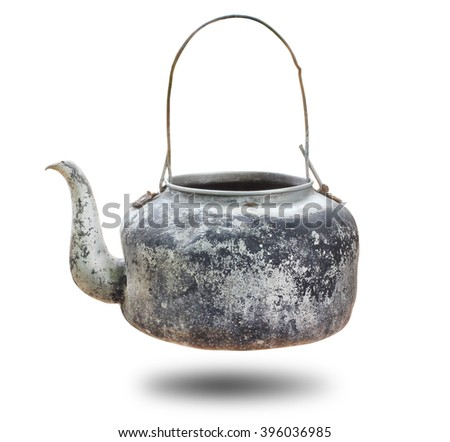Old kettle tea isolated on white background - stock photo