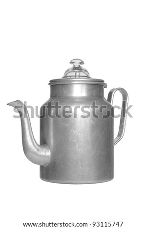old kettle with aluminium on white background