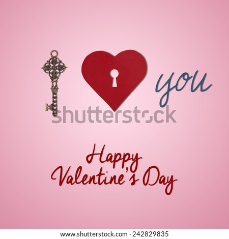 Old key and Heart shape from paper with keyhole Happy Valentines day, I love you, holiday card - stock photo