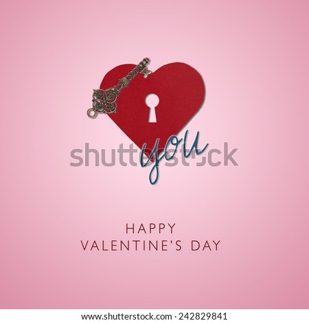 Old key and Heart shape from paper with keyhole Happy Valentines day, I love you,  isolated on rose pink background, holiday card - stock photo