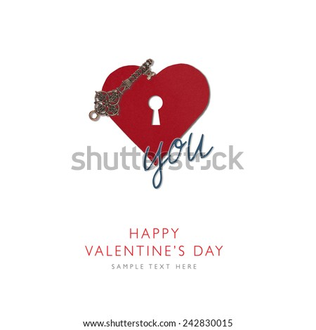 Old key and Heart shape from paper with keyhole Happy Valentines day, I love you, isolated on white background with place for your text, holiday card - stock photo