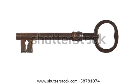 Old Key,isolated on white with clipping path - stock photo