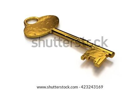 old key shiny gold. isolated on white background. 3D illustration. unlock the golden treasures! - stock photo