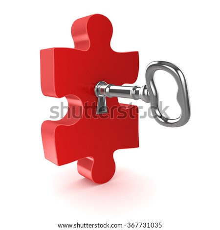 Old key with jigsaw puzzle piece , This is a 3d computer generated image. Isolated on white. - stock photo