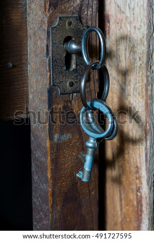 Old keys in a lock