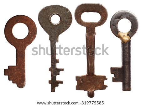 Old keys isolated on white background - stock photo