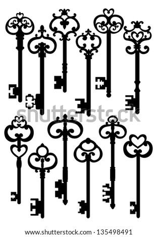 Old Keys, Silhouettes Set, Raster Version - stock photo