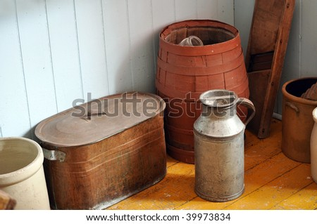 old kitchen containers and artifacts - stock photo