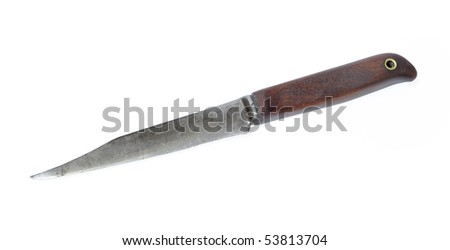 Old kitchen knife isolated over white