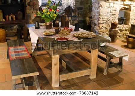 Old kitchen of  castle, Slovakia - stock photo