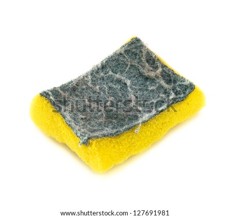 Old kitchen sponge isolated on the white background - stock photo