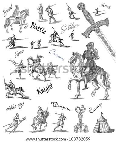 Old knight illustration - stock photo
