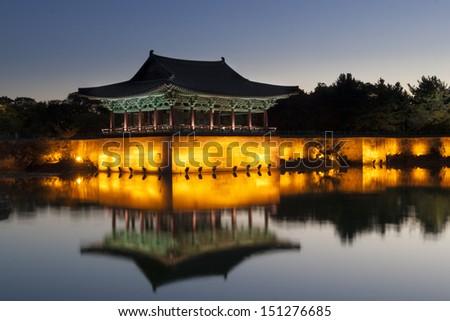 Old korean palace, anapji pond, at dawn. Gyeongju, South Korea - stock photo