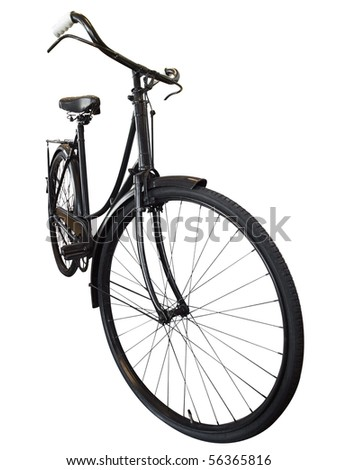 Old Ladies Bike isolated with clipping path - stock photo
