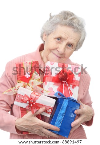 old lady and boxes with gifts on white background - stock photo