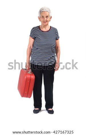Old lady goes on vacation - stock photo