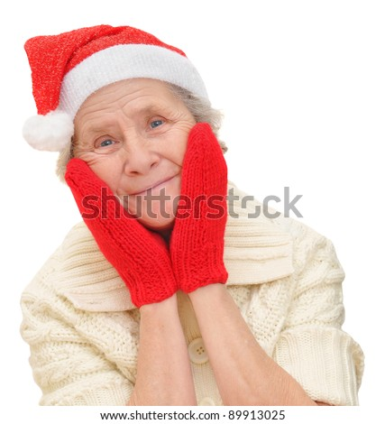 old lady in red Santa Claus hat and red mittens, Snow Maiden