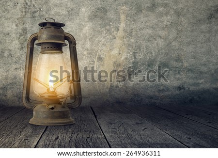 Old Lamp in a dramatic scene, Fanoos  - stock photo