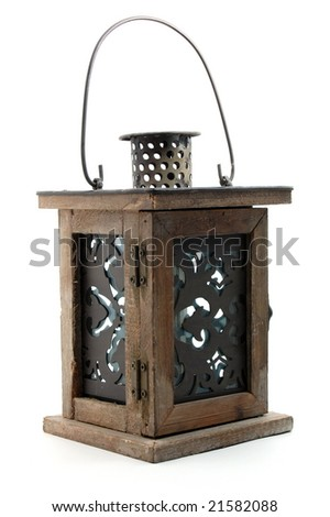 old lamp isolated on a white background - stock photo