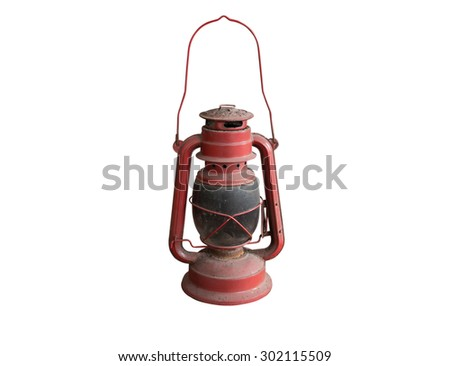 Old lamp isolated on white background - stock photo