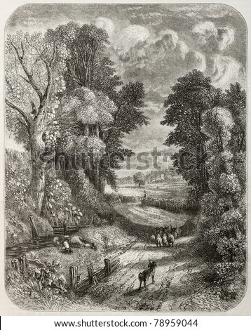 Old landscape of Hampstead, at present days within Greater London. Created by Marvy and Piaudois after painting of Constable. Published on Magasin Pittoresque, Paris, 1850 - stock photo