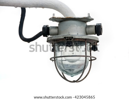 Old lantern light on a ship isolated on white background - stock photo