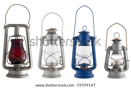 Old lanterns isolated of the background. - stock photo