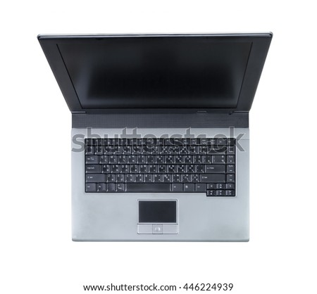 old laptop isolated on white background