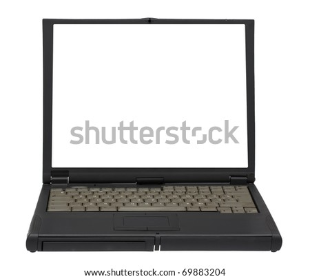 old laptop isolated on white background with clipping path