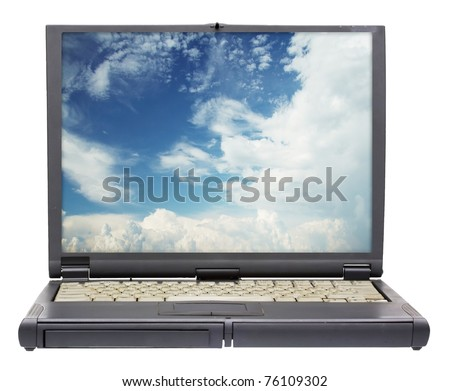 old laptop isolated on white background with clipping path - stock photo