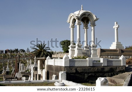 Old Large Cemetery With Many Graves and Gravestones During Daylight In Sydney Australia - stock photo