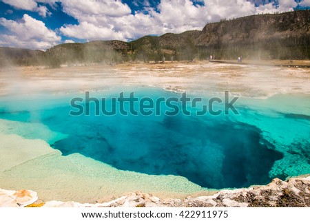 Old Large Grand Prismatic Spring, Yellowstone National Park, Wyoming - stock photo