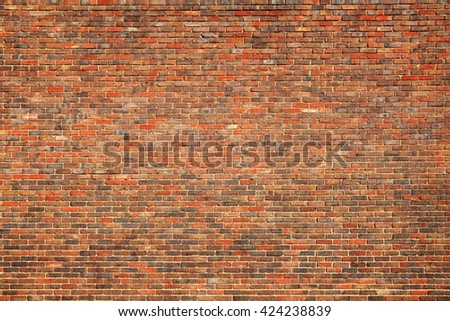 Old large red brick wall background  - stock photo