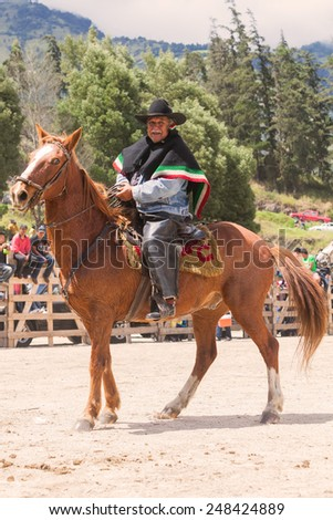 Old Latin Cowboy With A Mustache Riding A Horse, South America Competition  - stock photo