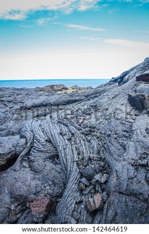 Old lava flow on Kona - stock photo