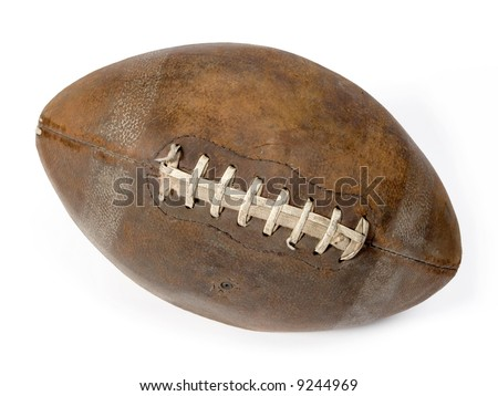 Old leather ball to play rugby. - stock photo