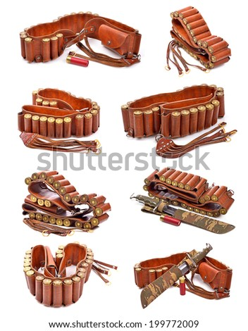 Old leather bandolier, old hunting knife ,on a white background - stock photo