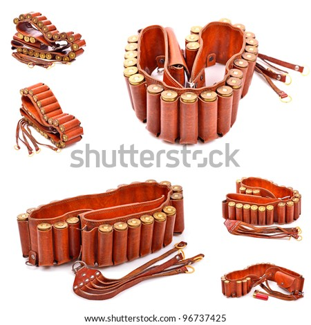 Old leather bandolier on a white background,collage - stock photo