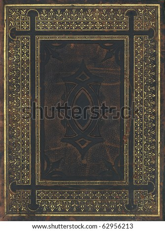 Old leather book cover - stock photo