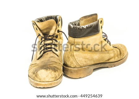 Old leather boots On a white background