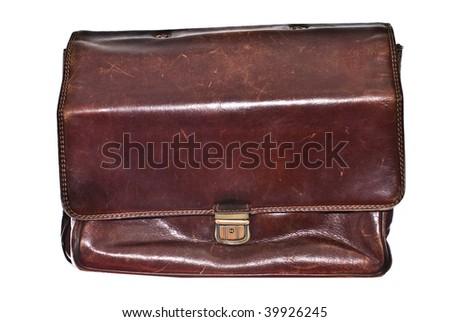 old leather briefcase isolated on white background