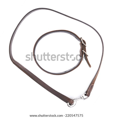 Old leather dog collar and leash, composition isolated over the white background, top view above - stock photo
