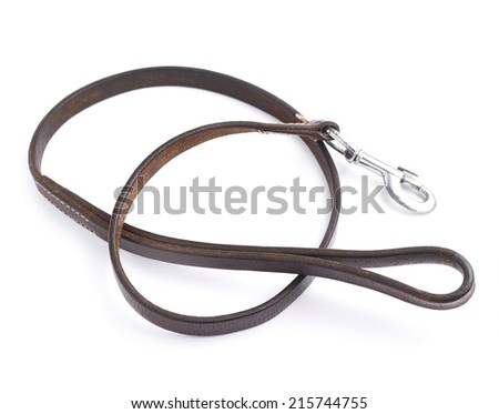 Old leather dog leash composition isolated over the white background - stock photo