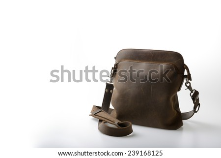 old Leather satchel bag on white background - stock photo