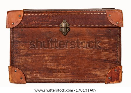 Old leather suitcase - stock photo