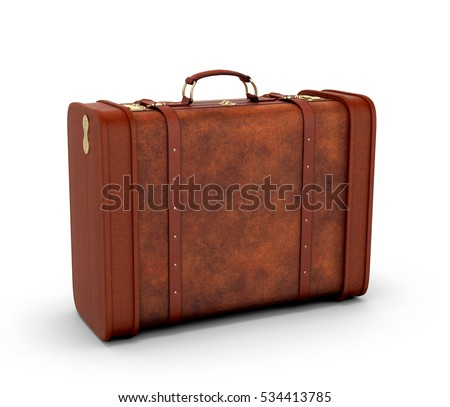 Old leather suitcase. Retro suitcase on a white background. 3D illustration