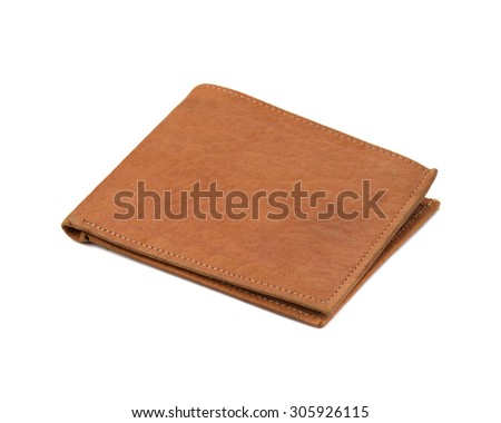 old leather wallet isolate on white background - stock photo
