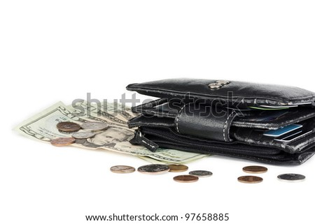 old leather wallet with money and bank cards on white background