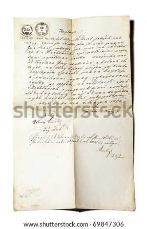 old letter 1870 - stock photo